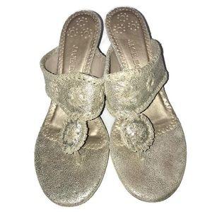 Jack Rogers Silver Kitten Heel Sandals Size 6.5